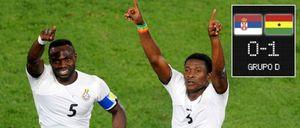 Un penalti marcado por Gyan propició la primera victoria africana