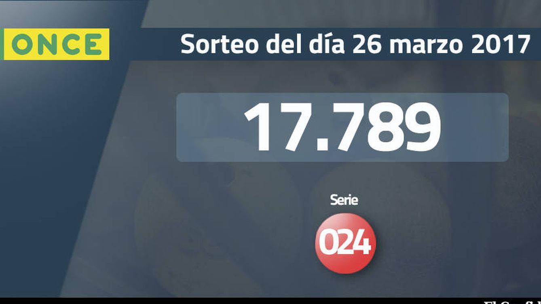 Resultados del Sueldazo de la ONCE del 26 marzo 2017: número 17.789