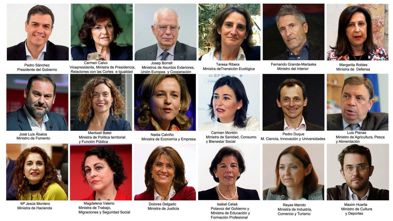 Las 11 ministras y los seis ministros del presidente Pedro Sánchez. (EFE)
