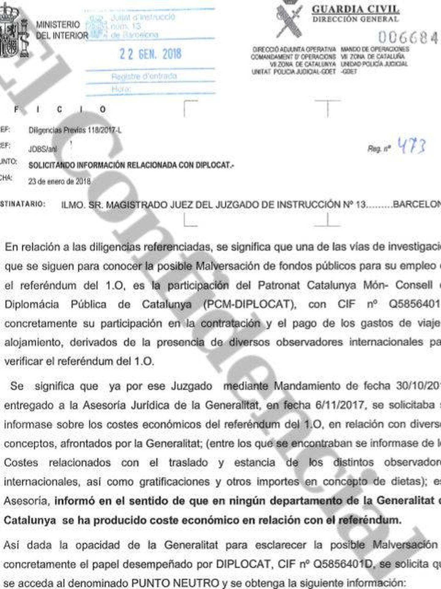 La Guardia Civil reclama en un oficio rastrear las cuentas del Diplocat. (Pinche para ampliar)