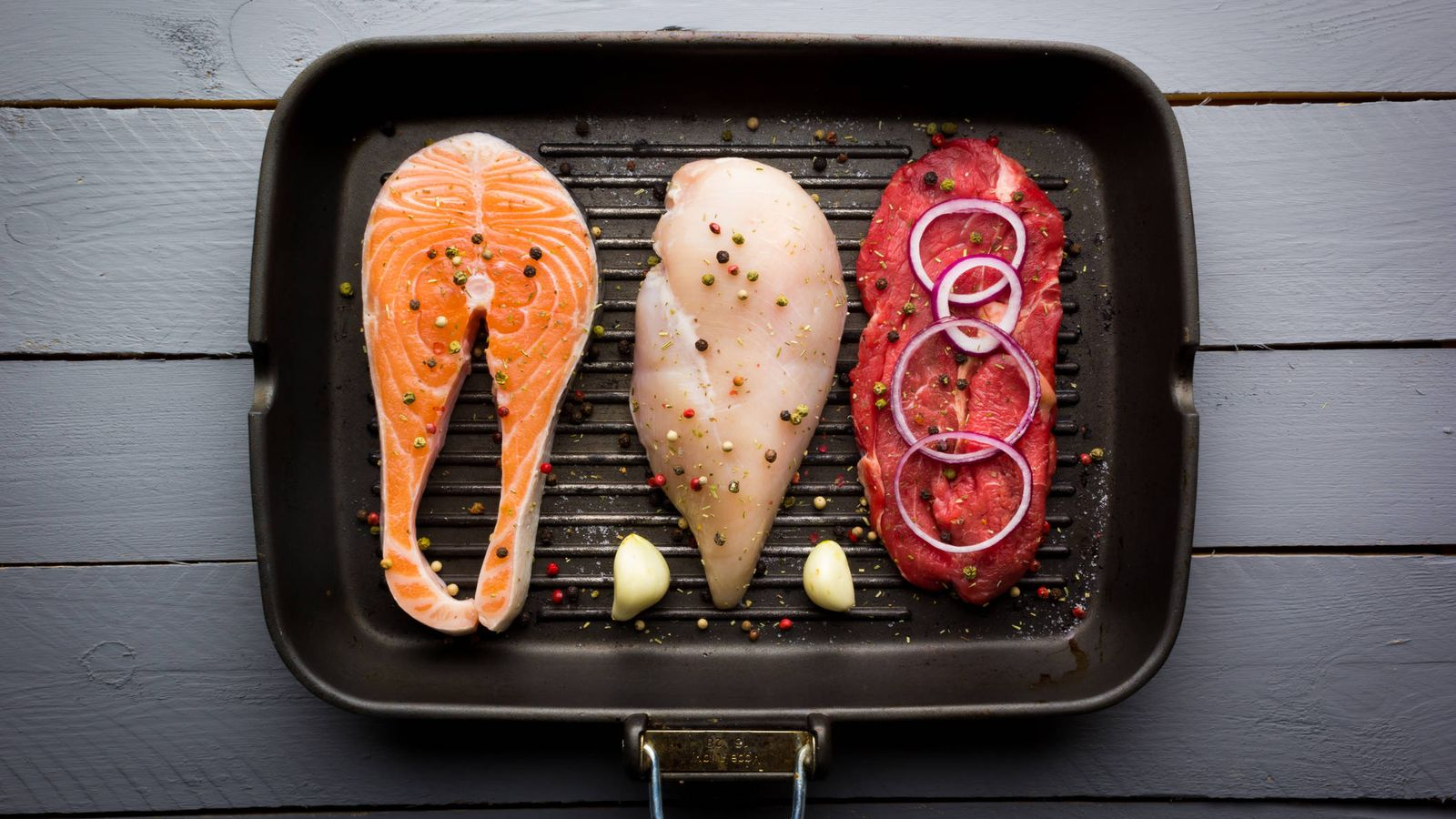 Foto: Tres tipos de fuentes de proteínas de origen animal. (iStock)