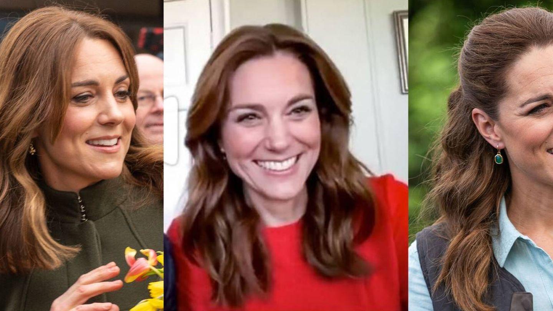 El cabello de Kate Middleton antes, durante y después de la cuarentena. (Cordon Press / Instagram / Getty)