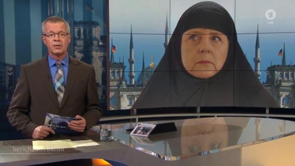la TV alemana genera polémica al vestir a una Merkel musulmana con 'hiyab'