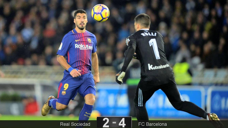 Foto: El primer gol de Suárez. (Reuters)