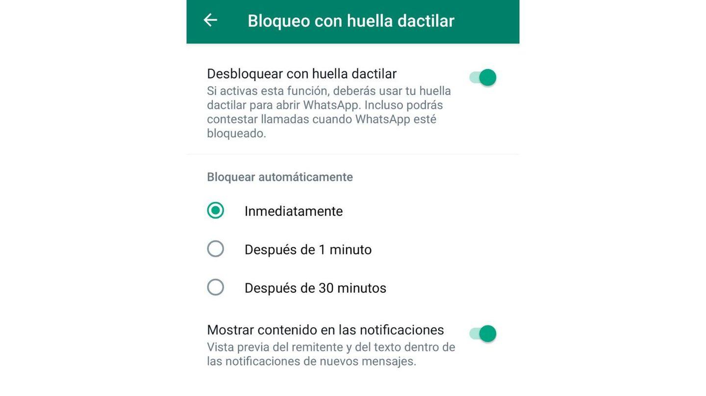 Captura de pantalla de WhatsApp de Android.