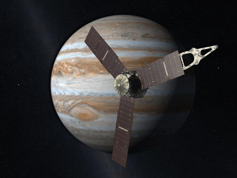 Foto: Juno, que visitará Júpiter, cuenta con unos gigantescos paneles solares para alimentar todos los instrumentos de la nave. (NASA)
