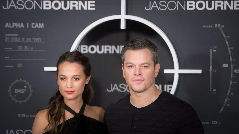 Foto: Alicia Vikander y Matt Damon en la presentación de 'Jason Bourne' en Madrid
