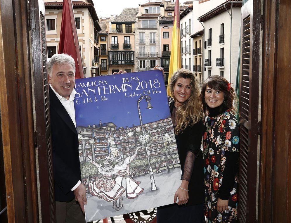 Foto: Asiron, durante la presentación del cartel de los Sanfermines de este año. (EFE)