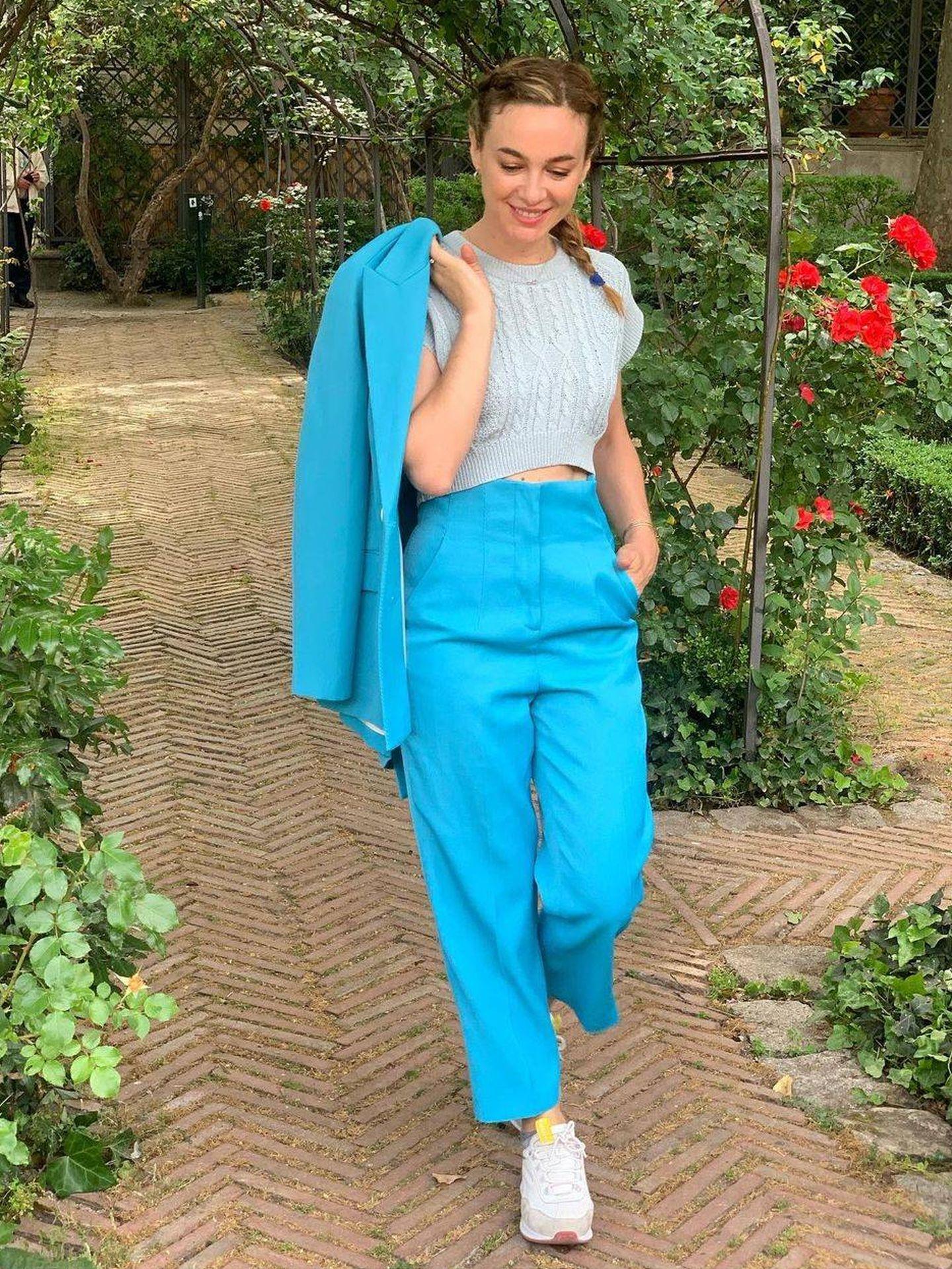 Marta Hazas con su traje de Zara. (Instagram, @martahazas)