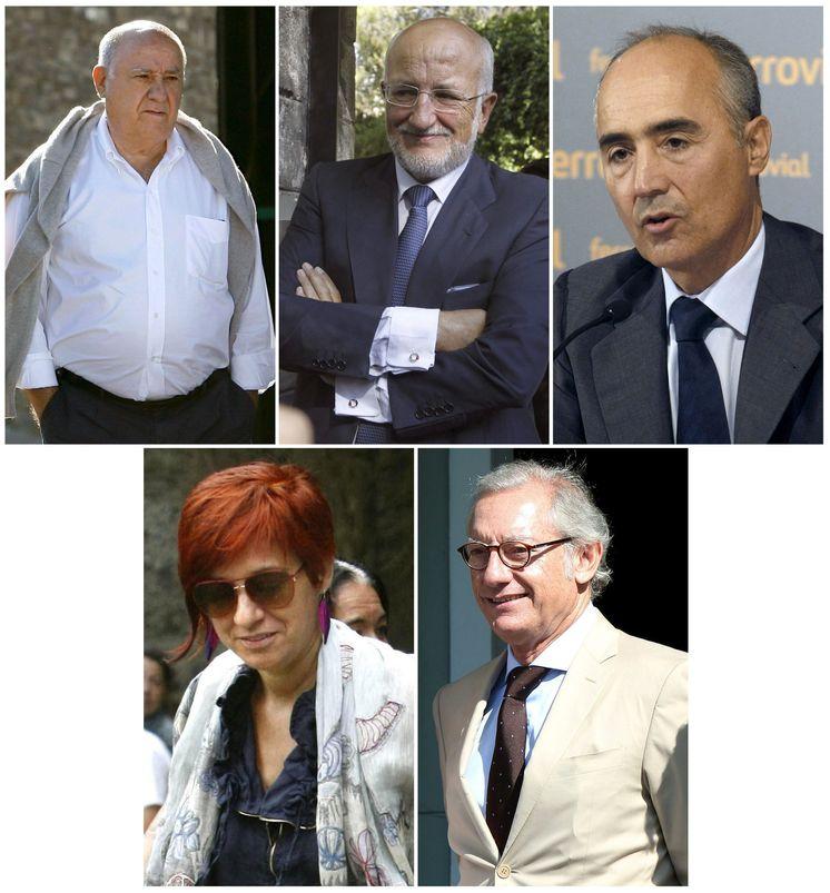 Foto: De izquierda a derecha y arriba a abajo: Amancio Ortega, Juan Roig, Rafael del Pino, Sandra Ortega e Isak Andic. (EFE)