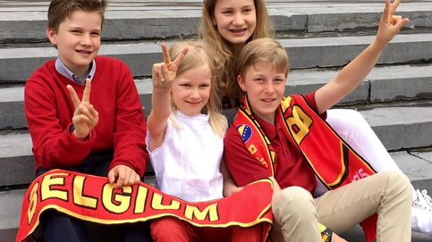 Los hijos de los reyes de Bélgica se vuelcan con la selección de su país