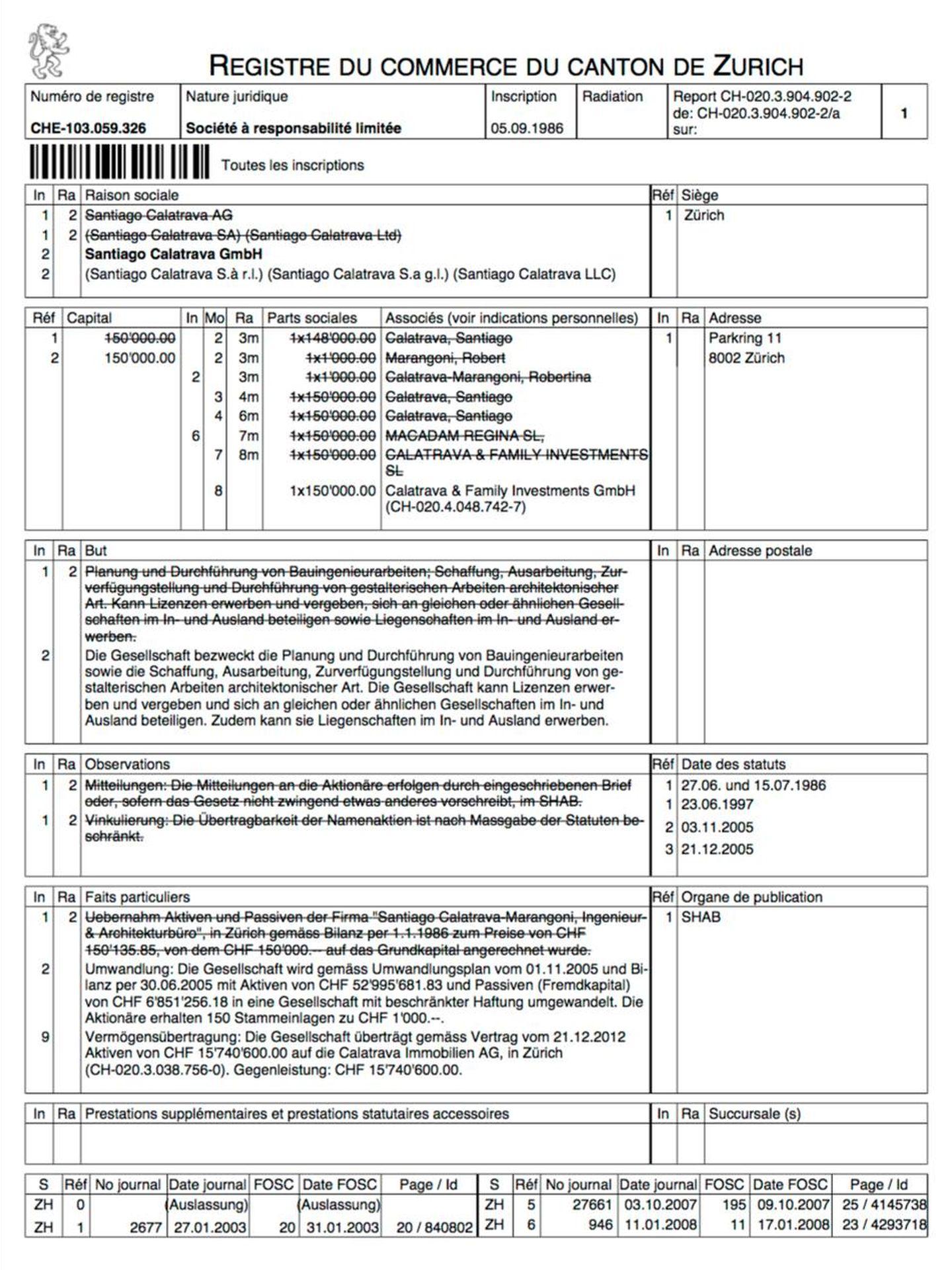 Inscripción de la sociedad Santiago Calatrava GmbH en el registro del Cantón de Zúrich.