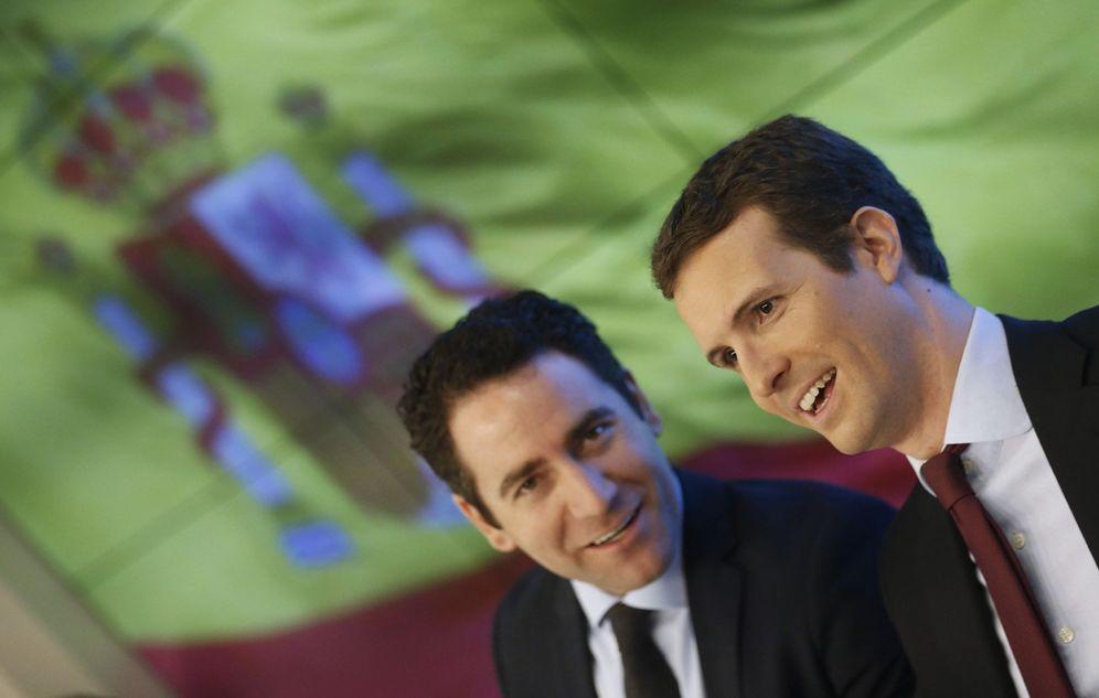 Foto: Pablo Casado, líder del PP, con su secretario general, Teodoro García Egea, el pasado 18 de febrero en Madrid. (EFE)