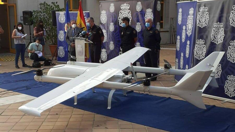 Imagen del dron incautado. (Policía Nacional)