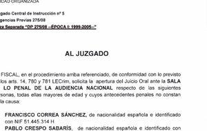 'Caso Gürtel': escrito provisional de acusación