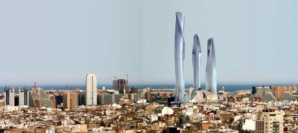 Foto: Proyección de las tres torres que nunca se construyeron