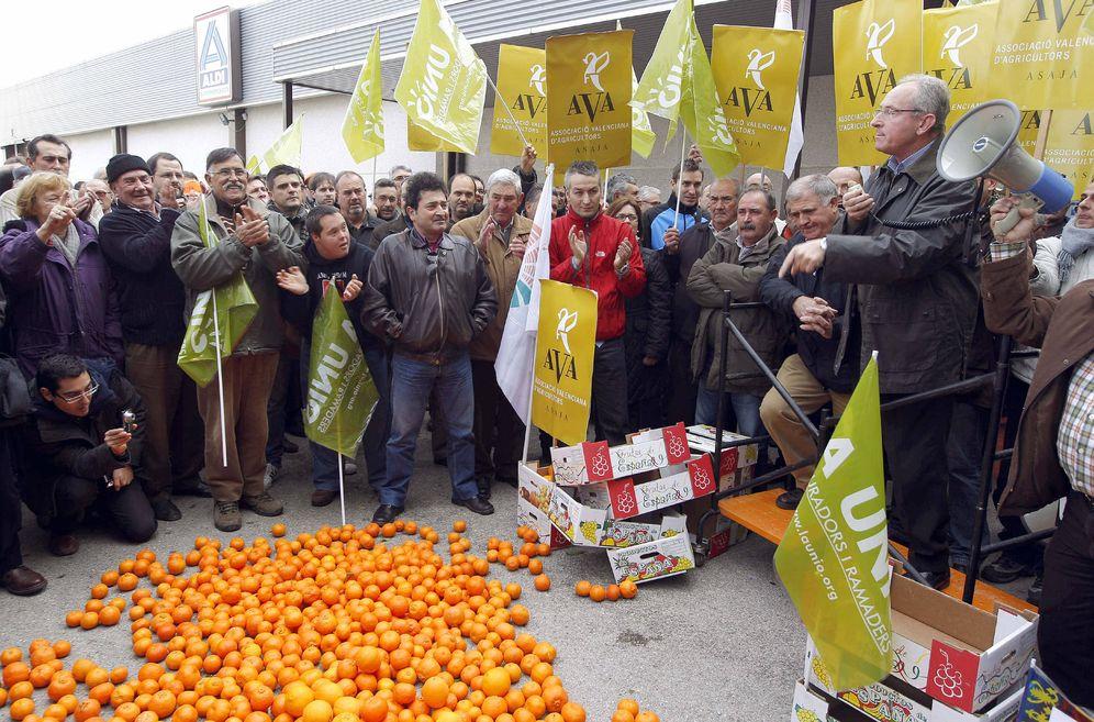 Foto: Los agricultores valencianos protestan por los bajos precios de los cítricos. (EFE)