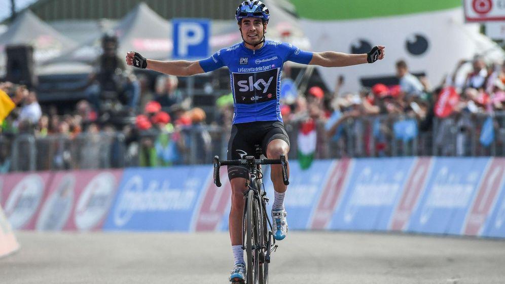Foto: Mikel Landa ganó la 'maglia azzurra' de la montaña en el Giro. (EFE)