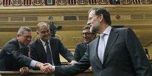 Foto: Posada y García Escudero, presidentes del Congreso y el Senado tras la votación