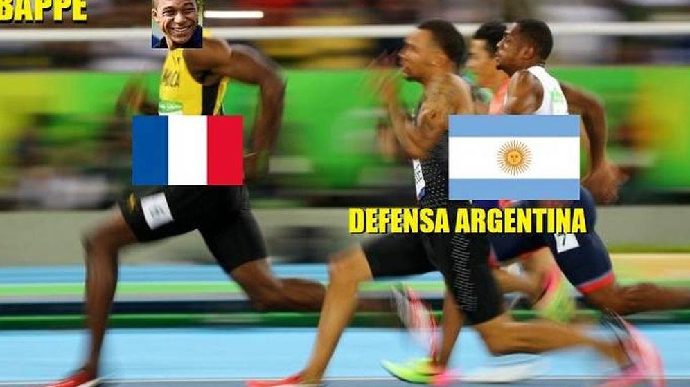 Foto: Mbappé dejó en evidencia a la defensa argentina.