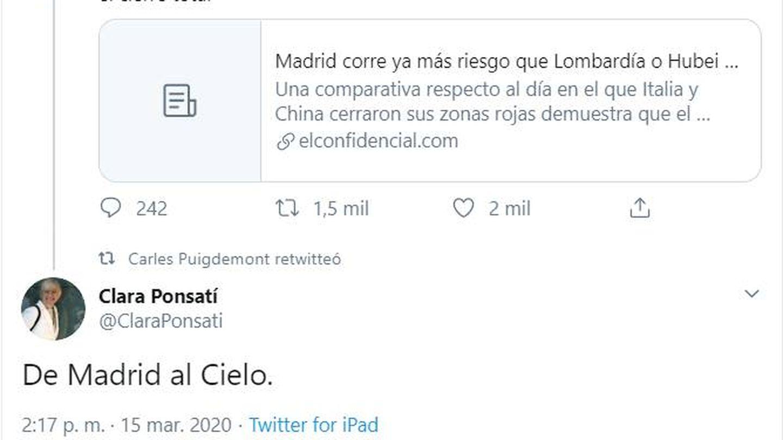 Imagen del tweet de Ponsatí, que finalmente ha decidido borrar.