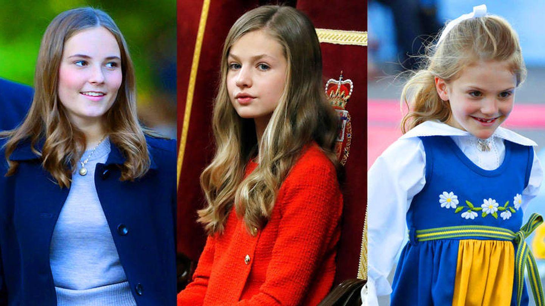 Elisabeth de Bélgica, Ingrid Alexandra de Noruega, Leonor de España, Estelle de Suecia y Amalia de Holanda.