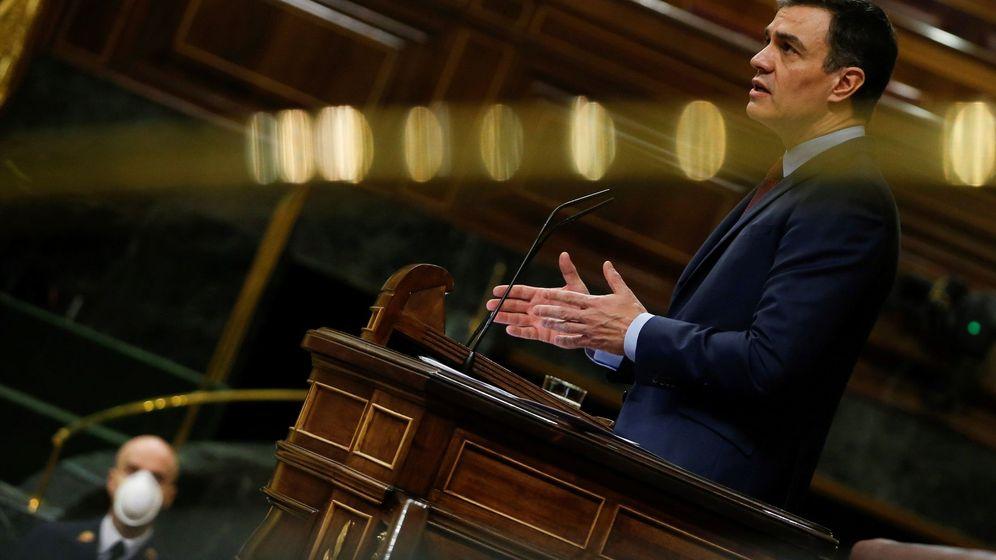 Foto: El presidente del Gobierno, Pedro Sánchez, durante su intervención en el pleno del Congreso. (EFE)