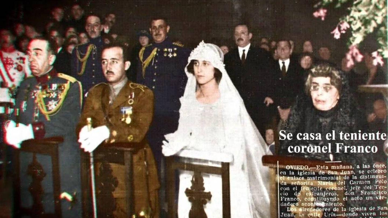 La boda de Francisco Franco y Carmen Polo, donde fue padrino el rey Alfonso XIII detrás.