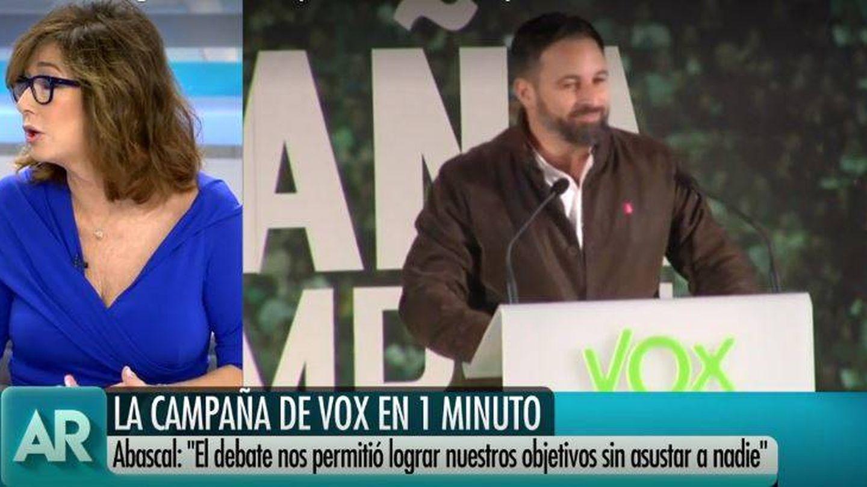 Ana Rosa Quintana comenta el programa de Vox. (Mediaset España)