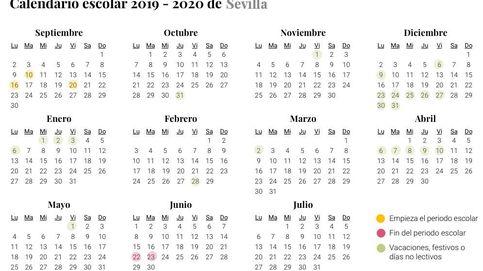 Calendario escolar 2019-2020 en Sevilla: vacaciones y días sin clase en los colegios