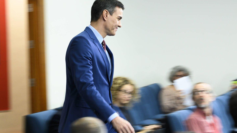 Pedro Sánchez, a su llegada a la comparecencia de presentación de su nuevo Gabinete, este 12 de enero en la Moncloa. (Borja Puig de la Bellacasa   Pool Moncloa)