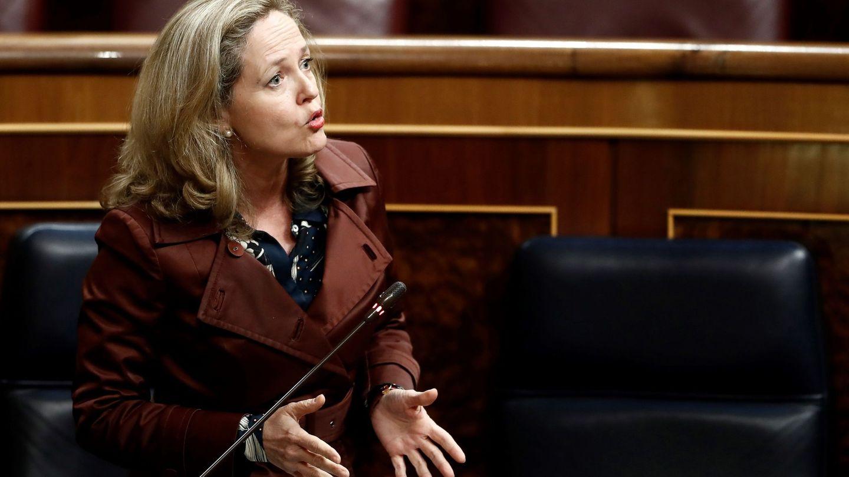 La vicepresidenta económica del Gobierno, en el Congreso. (EFE)