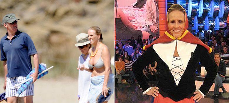 Foto: La presentadora veraneando en Menorca con su hermano y su madre. A la derecha, vestida de payesa en 'Gran Hermano' (I.C.)