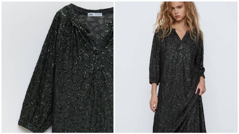 Vestido de lentejuelas de Zara. (Cortesía)
