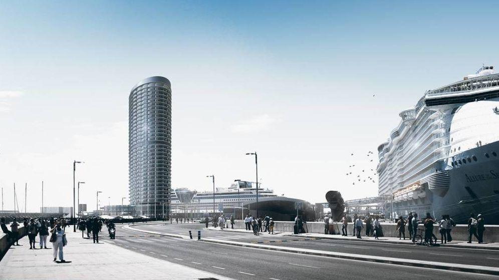 Foto: Vista del proyecto del hotel rascacielos del Puerto de Málaga.