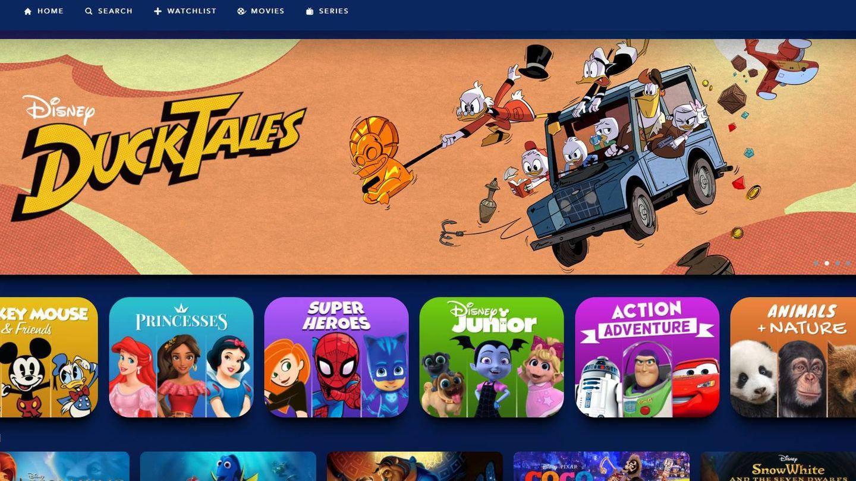 Interfaz del nuevo servicio de streaming de Disney