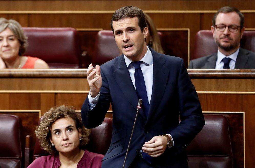 Foto: Pablo Casado, este 19 de septiembre en la sesión de control en el pleno del Congreso. (EFE)