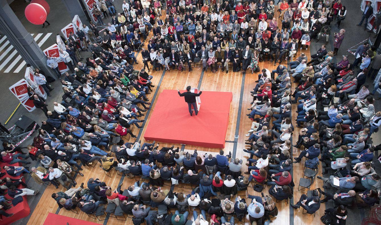 Foto: Pedro Sánchez, durante su intervención en la clausura de la escuela de buen gobierno del PSOE, este 18 de marzo en La N@ve Boetticher de Madrid. (Borja Puig | PSOE)