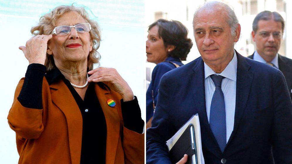 Foto: Manuela Carmena, alcaldesa de Madrid, y Jorge Fernández, exministro del Interior.