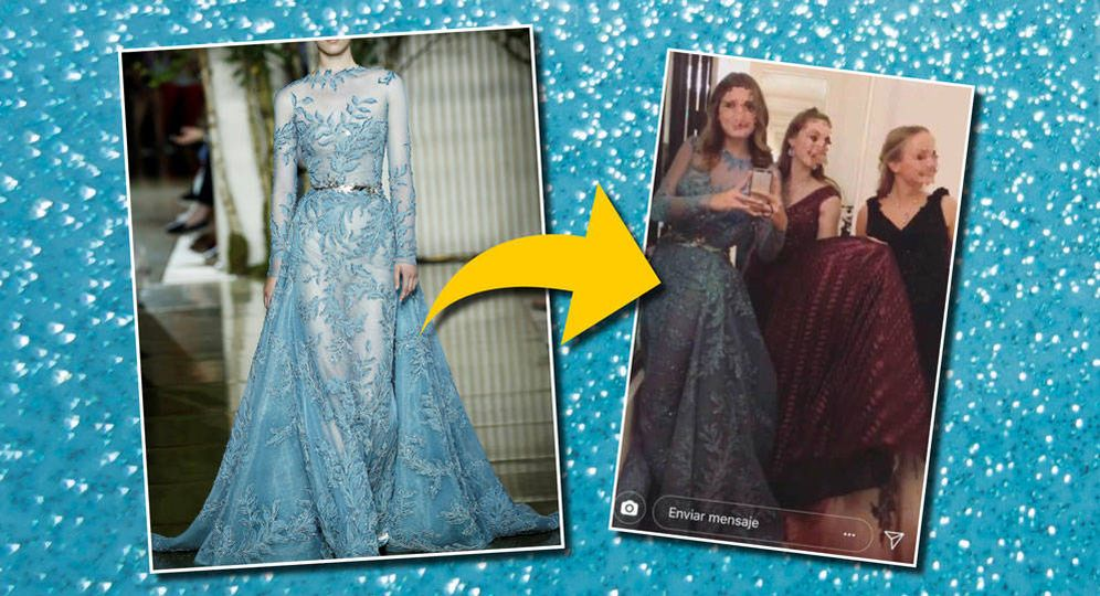 Foto: Amina Martínez de Irujo y su vestido en un fotomontaje elaborado por Vanitatis.