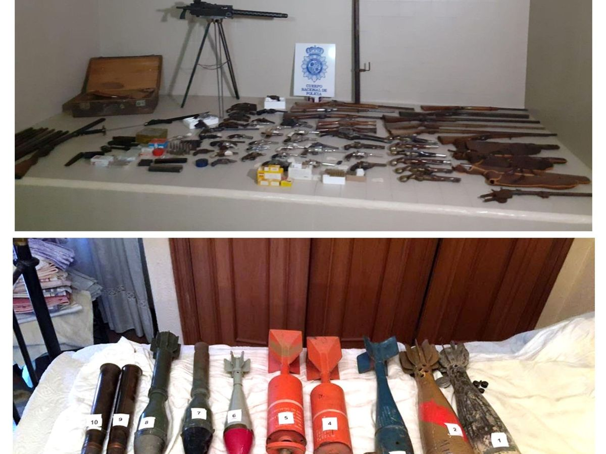 Foto: Había más de 80 armas en el arsenal descubierto en el centro de Palencia (Policía Nacional)