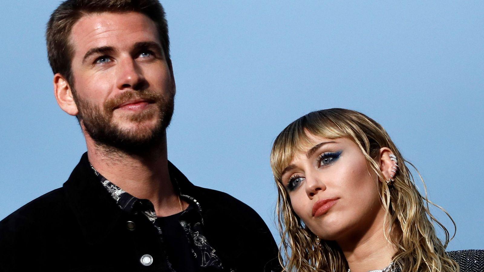 Foto: Miley Cyrus y Liam Hemsworth. (Efe)
