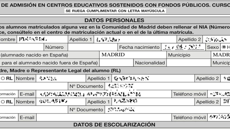Extracto de solicitud de matrícula en un colegio de Madrid.