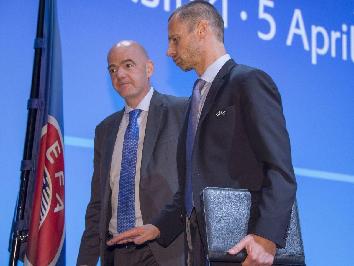 Foto:  El presidente de la UEFA, Aleksander Ceferin y el de la FIFA, Gianni Infantino. (EFE)