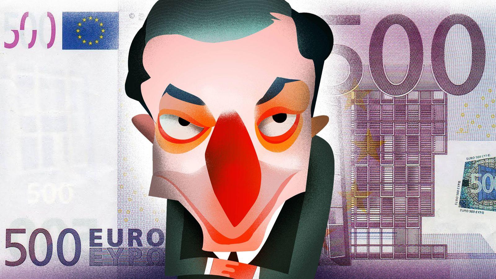 Foto: El presidente del BCE, Mario Draghi. (Ilustración: Raúl Arias)