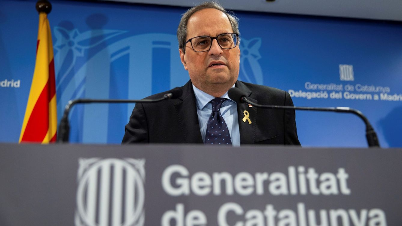 Foto: El presidente de la Generalitat, Quim Torra, durante una rueda de prensa en Madrid. (Efe).