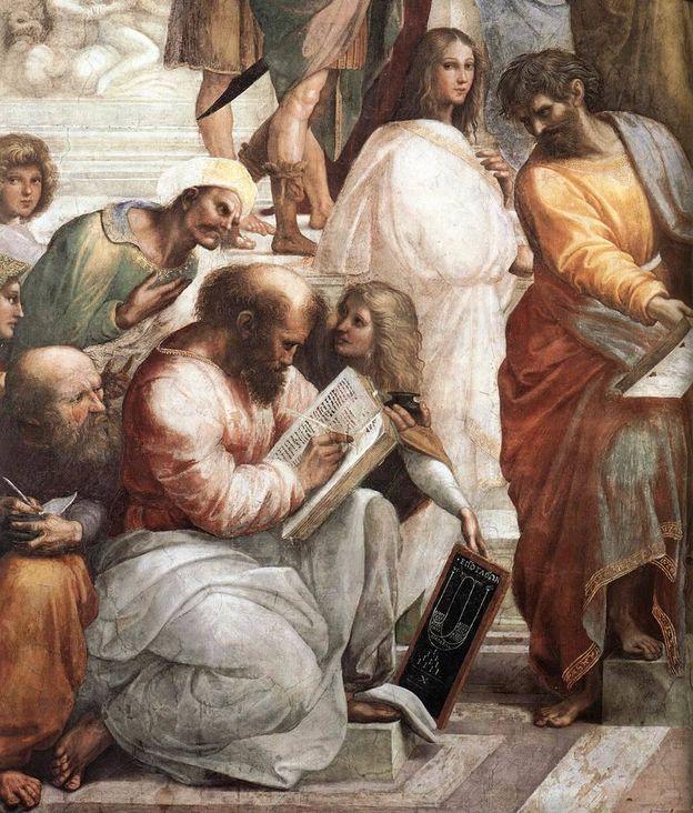 Foto: Pitágoras, pintado por Rafael en 'La escuela de Atenas'.  (Wikimmedia Commons)