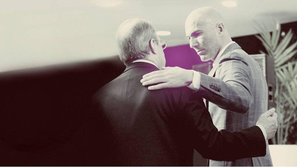 Foto: Florentino Pérez y Zidane durante la celebración de la pasada Champions League.