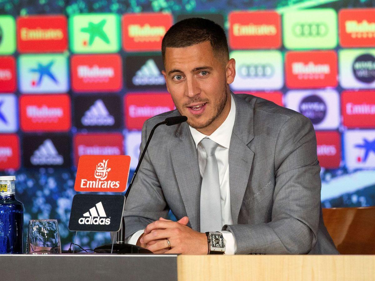 Foto: Hazard, en la presentación del Real Madrid. (EFE)