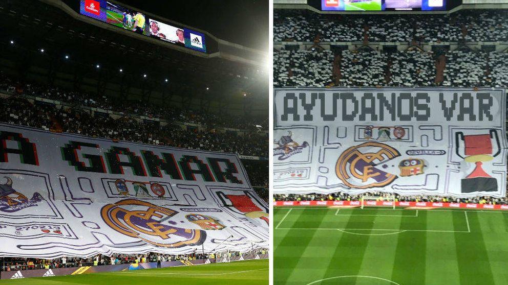 A ganar: el tifo de Pacman de la afición del Real Madrid queriendo comerse al Barcelona